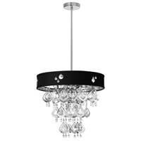 Dainolite Silhouette 5 Light Chandelier in Polished Chrome with Black Baroness Shade SIL-1805C-PC-694