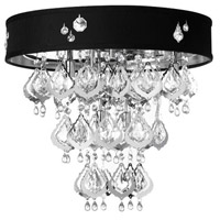 Dainolite Silhouette 5 Light Flush Mount in Polished Chrome with Black Baroness Shade SIL-1815FH-PC-694