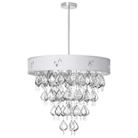 Dainolite Silhouette 8 Light Chandelier in Polished Chrome with White Baroness Shade SIL-2208C-PC-693