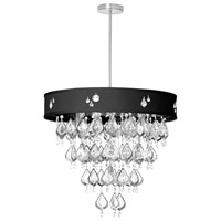 Dainolite Silhouette 8 Light Chandelier in Polished Chrome with Black Baroness Shade SIL-2208C-PC-694