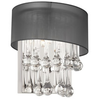 Dainolite Tamara 2 Light Sconce in Polished Chrome with Black Shade and Clear Glass Droplets TAM-101W-BK