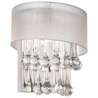 Dainolite Tamara 2 Light Sconce in Polished Chrome with Oyster Shade and Clear Glass Droplets TAM-101W-OYS