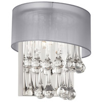 Dainolite Tamara 2 Light Sconce in Polished Chrome with Silver Shade and Clear Glass Droplets TAM-101W-SV
