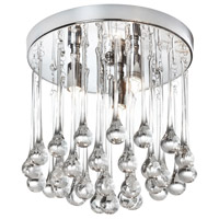 Dainolite Tamara 3 Light Flush Mount in Polished Chrome with Clear Glass Droplets TAM-103FH-PC