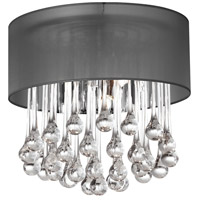 Dainolite Tamara 4 Light Flush Mount in Polished Chrome with Black Shade and Clear Glass Droplets TAM-123FH-BK