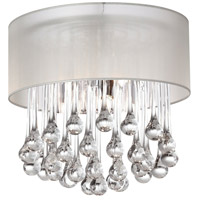Dainolite Tamara 4 Light Flush Mount in Polished Chrome with Oyster Shade and Clear Glass Droplets TAM-123FH-OYS