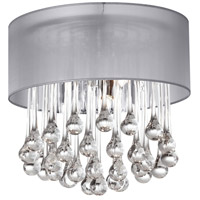 Dainolite Tamara 4 Light Flush Mount in Polished Chrome with Silver Shade and Clear Glass Droplets TAM-123FH-SV