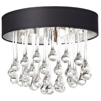 Dainolite Tamara 4 Light Flush Mount in Polished Chrome with Black Shade and Clear Glass Droplets TAM-133FH-BK