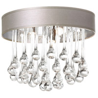 Dainolite Tamara 4 Light Flush Mount in Polished Chrome with Pebble Shade and Clear Glass Droplets TAM-133FH-PEB