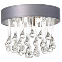 Dainolite Tamara 4 Light Flush Mount in Polished Chrome with Silver Shade and Clear Glass Droplets TAM-133FH-SV