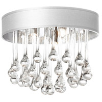 Dainolite Tamara 4 Light Flush Mount in Polished Chrome with White Shade and Clear Glass Droplets TAM-133FH-WH