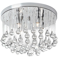 Dainolite Tamara 4 Light Flush Mount in Polished Chrome with Clear Glass Droplets TAM-144FH-PC