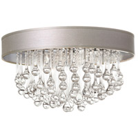 Dainolite Tamara 4 Light Flush Mount in Polished Chrome with Pebble Shade and Clear Glass Droplets TAM-174FH-PEB