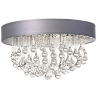 Dainolite Tamara 4 Light Flush Mount in Polished Chrome with Silver Shade and Clear Glass Droplets TAM-174FH-SV