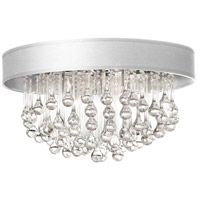 Dainolite Tamara 4 Light Flush Mount in Polished Chrome with White Shade and Clear Glass Droplets TAM-174FH-WH