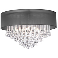 Dainolite Tamara 4 Light Flush Mount in Polished Chrome with Black Shade and Clear Glass Droplets TAM-184FH-BK