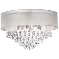 Dainolite Tamara 4 Light Flush Mount in Polished Chrome with Oyster Shade and Clear Glass Droplets TAM-184FH-OYS
