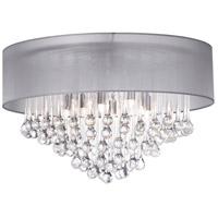 Dainolite Tamara 4 Light Flush Mount in Polished Chrome with Silver Shade and Clear Glass Droplets TAM-184FH-SV
