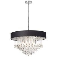 Dainolite Tamara 8 Light Chandelier in Polished Chrome with Black Shade and Clear Glass Droplets TAM-238C-BK