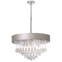 Dainolite Tamara 8 Light Chandelier in Polished Chrome with Pebble Shade and Clear Glass Droplets TAM-238C-PEB