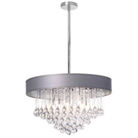 Dainolite Tamara 8 Light Chandelier in Polished Chrome with Silver Shade and Clear Glass Droplets TAM-238C-SV