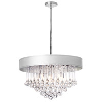 Dainolite Tamara 8 Light Chandelier in Polished Chrome with White Shade and Clear Glass Droplets TAM-238C-WH