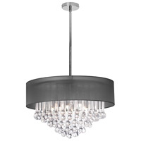 Dainolite Tamara 8 Light Chandelier in Polished Chrome with Black Shade and Clear Glass Droplets TAM-248C-BK