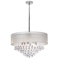 Dainolite Tamara 8 Light Chandelier in Polished Chrome with Oyster Shade and Clear Glass Droplets TAM-248C-OYS
