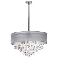 Dainolite Tamara 8 Light Chandelier in Polished Chrome with Silver Shade and Clear Glass Droplets TAM-248C-SV