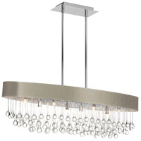 Dainolite Tamara 8 Light Chandelier in Polished Chrome with Pebble Shade and Clear Glass Droplets TAM-388HC-PEB