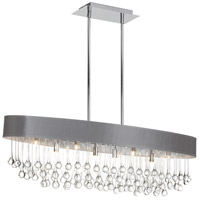Dainolite Tamara 8 Light Chandelier in Polished Chrome with Silver Shade and Clear Glass Droplets TAM-388HC-SV