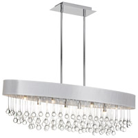 Dainolite Tamara 8 Light Chandelier in Polished Chrome with White Shade and Clear Glass Droplets TAM-388HC-WH