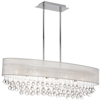 Dainolite Tamara 8 Light Chandelier in Polished Chrome with Oyster Shade and Clear Glass Droplets TAM-398HC-OYS