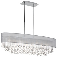 Dainolite Tamara 8 Light Chandelier in Polished Chrome with Silver Shade and Clear Glass Droplets TAM-398HC-SV