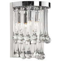 Dainolite Tamara 2 Light Sconce in Polished Chrome with Clear Glass Droplets TAM-72W-PC