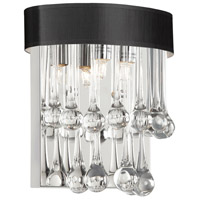 Dainolite Tamara 2 Light Sconce in Polished Chrome with Clear Glass Droplets TAM-92W-BK