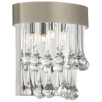 Dainolite Tamara 2 Light Sconce in Polished Chrome with Pebble Shade and Clear Glass Droplets TAM-92W-PEB
