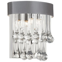 Dainolite Tamara 2 Light Sconce in Polished Chrome with Silver Shade and Clear Glass Droplets TAM-92W-SV