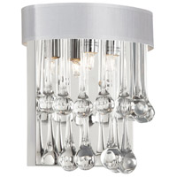 Dainolite Tamara 2 Light Sconce in Polished Chrome with White Shade and Clear Glass Droplets TAM-92W-WH