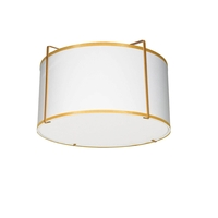 Dainolite TRA-121FH-GLD-WH Trapazoid 2 Light 12 inch Gold Flush Mount Ceiling Light