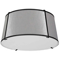 Dainolite TRA-3FH-BK-GRY Trapazoid 3 Light 16 inch Matte Black Flush Mount Ceiling Light