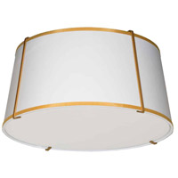 Dainolite TRA-3FH-GLD-WH Trapazoid 3 Light 16 inch Gold Flush Mount Ceiling Light