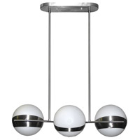 Trio 3 Light 8 inch Satin Chrome Horizontal Pendant Ceiling Light