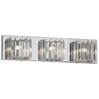 Signature 3 Light 19 inch Clear and Polished Chrome Vanity Wall Light