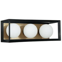 Dainolite V166-3W-BK-AGB Signature 3 Light 16 inch Black and Aged Brass Vanity Wall Light
