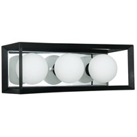 Dainolite V166-3W-BK-PC Signature 3 Light 16 inch Black and Polished Chrome Vanity Wall Light