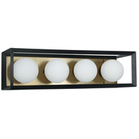 Dainolite V166-4W-BK-AGB Signature 4 Light 21 inch Black and Aged Brass Vanity Wall Light