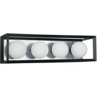 Dainolite V166-4W-BK-PC Signature 4 Light 21 inch Black and Polished Chrome Vanity Wall Light