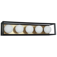 Dainolite V166-5W-BK-AGB Signature 5 Light 27 inch Black and Aged Brass Vanity Wall Light