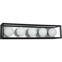 Dainolite V166-5W-BK-PC Signature 5 Light 27 inch Black and Polished Chrome Vanity Wall Light